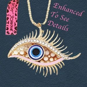 White Rhinestones Turkish Lucky Blue Eyes Necklace
